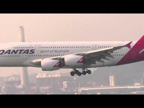 Qantas A380-800 Landing HKG-Hong Kong