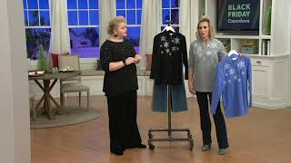 Quacker Factory Embroidered Half Zip Fleece Pullover on QVC
