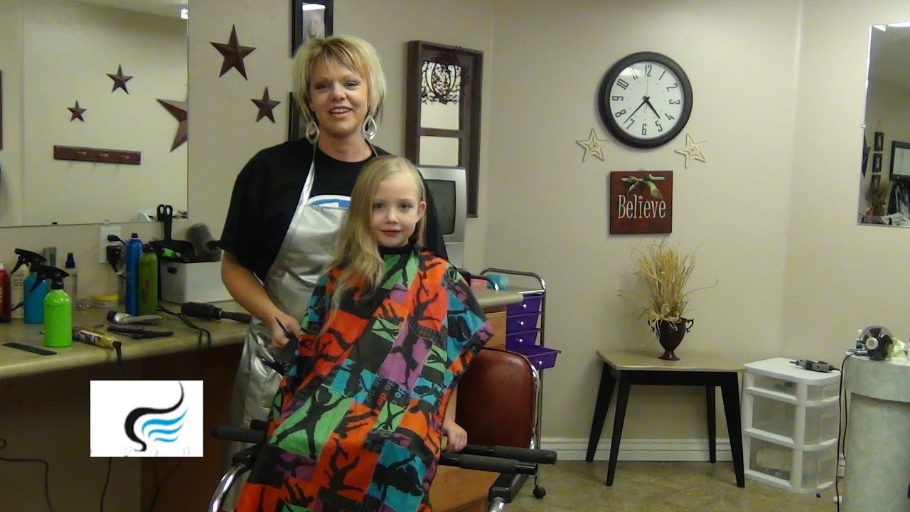 How to cut long hair to stacked a line for little girls for A little off the top salon