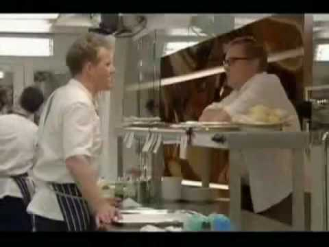 Gordon Ramsay puts Vic Reeves in his place for ordering a fried egg and Lynda Bellingham falls over