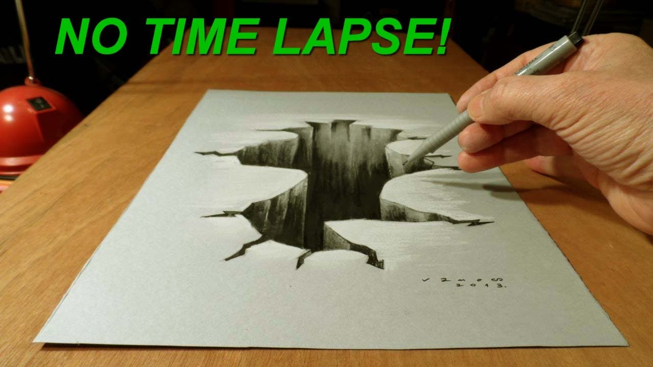 no time lapse trick art on paper drawing 3d hole youtube
