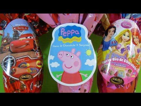 3 Huevos Sorpresa GIGANTES de Peppa Pig. Disney-Pixar Cars 2 y Princesas Disney