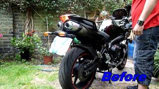 FZ6 Exhaust Drilled Before & After