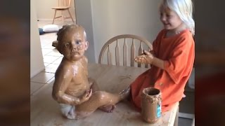 3-Year-Old Completely Covers Baby Brother with Peanut Butter