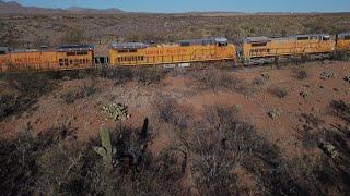 Hundreds of Abandoned Train Engines in the Desert