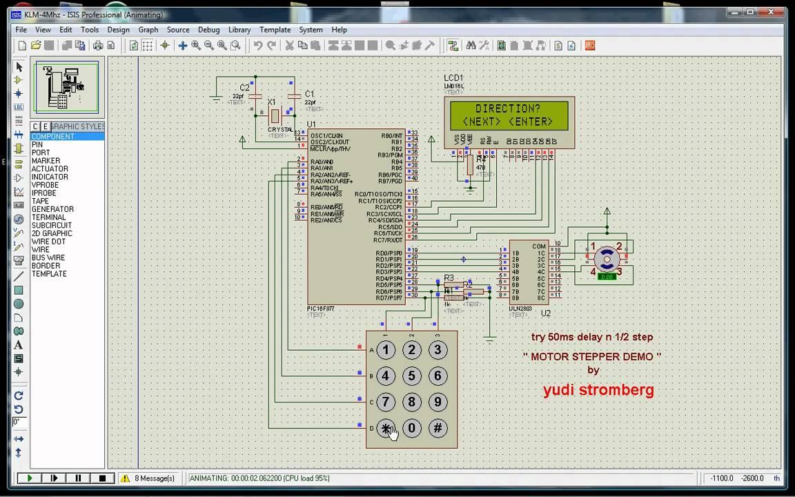 arduino to tv wiring diagram proteus pic16f877 keypad lcd unipolar motor stepper youtube  proteus pic16f877 keypad lcd unipolar motor stepper youtube