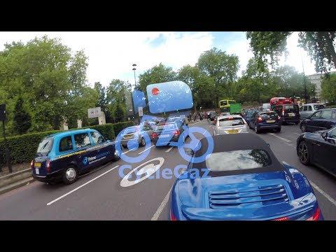 Bicycle crashes into back of a Porsche 911