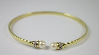 Beautiful Cultured Pearl & Diamond Gold Bangle Bracelet 14k