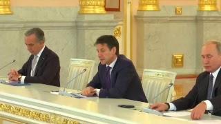 Incontro del Presidente Conte e del Presidente russo Putin con una rappresentanza di imprenditori