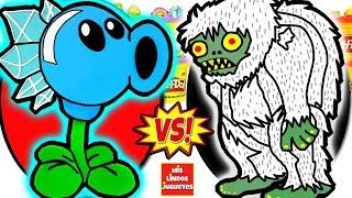 Huevos Sorpresa Gigantes de Plants VS Zombies 2 con Lanzaguisantes de Hielo de Plastilina en Español