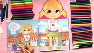 Đồ chơi bé gái dán hình quần áo búp bê Xu Xu, đồ chơi cắt dán quần áo búp bê cùng chị Chim Xinh