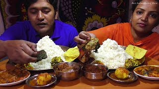 Couple Eating Show - Rice & Paratha with Gobi Manchurian - Egg Curry - Omelette Potato