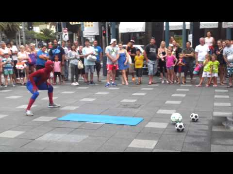 Spiderman Gangnum Style Soccer Skills video