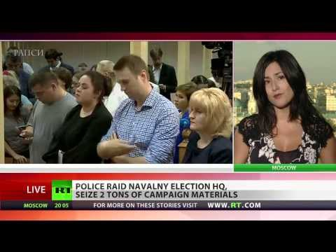 Police raid Navalny election HQ, seize 2 tons of materials