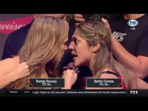Ronda Rousey, Bethe Correia's Intense UFC 190 Weigh-in