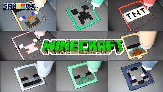 Minecraft Pancake art - Creeper, TNT, Steve, Pig, Villager, Skeleton, Zombie, Ender Man