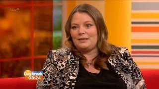 Joanna Scanlan on ITV wearing Beigeplus interviewed by Lorraine Kelly on Daybreak