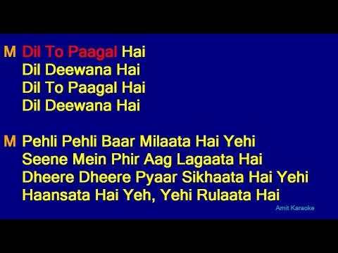 Dil To Pagal Hai - Lata Mangeshkar Udit Narayan Duet Hindi Full Karaoke With Lyrics