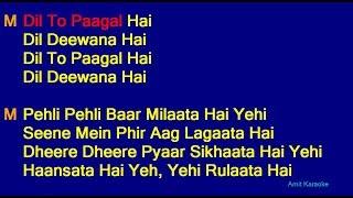 Dil To Pagal Hai - Lata Mangeshkar Udit Narayan Duet Hindi Full Karaoke With Lyrics
