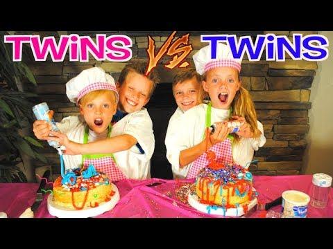 NOT MY ARMS BIRTHDAY CAKE CHALLENGE!  Ninja Kidz TV Twins VS Kids Fun TV Twins Team Up!