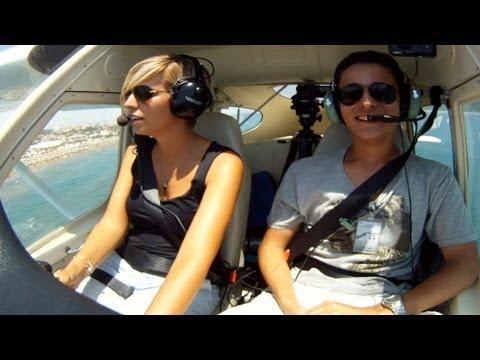 Tecnam P92 Cockpit Takeoff, Flying, Landing at Larnaca Short VFR Flight-Full Flight Video