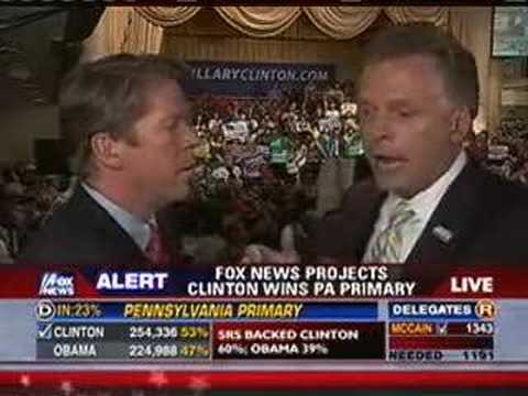 Terry McAuliffe Congratulates Fox News For 1st Clinton Call