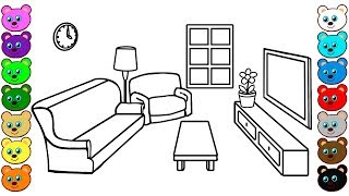 Learn Colors for Kids with Living Room | Coloring Pages for Children