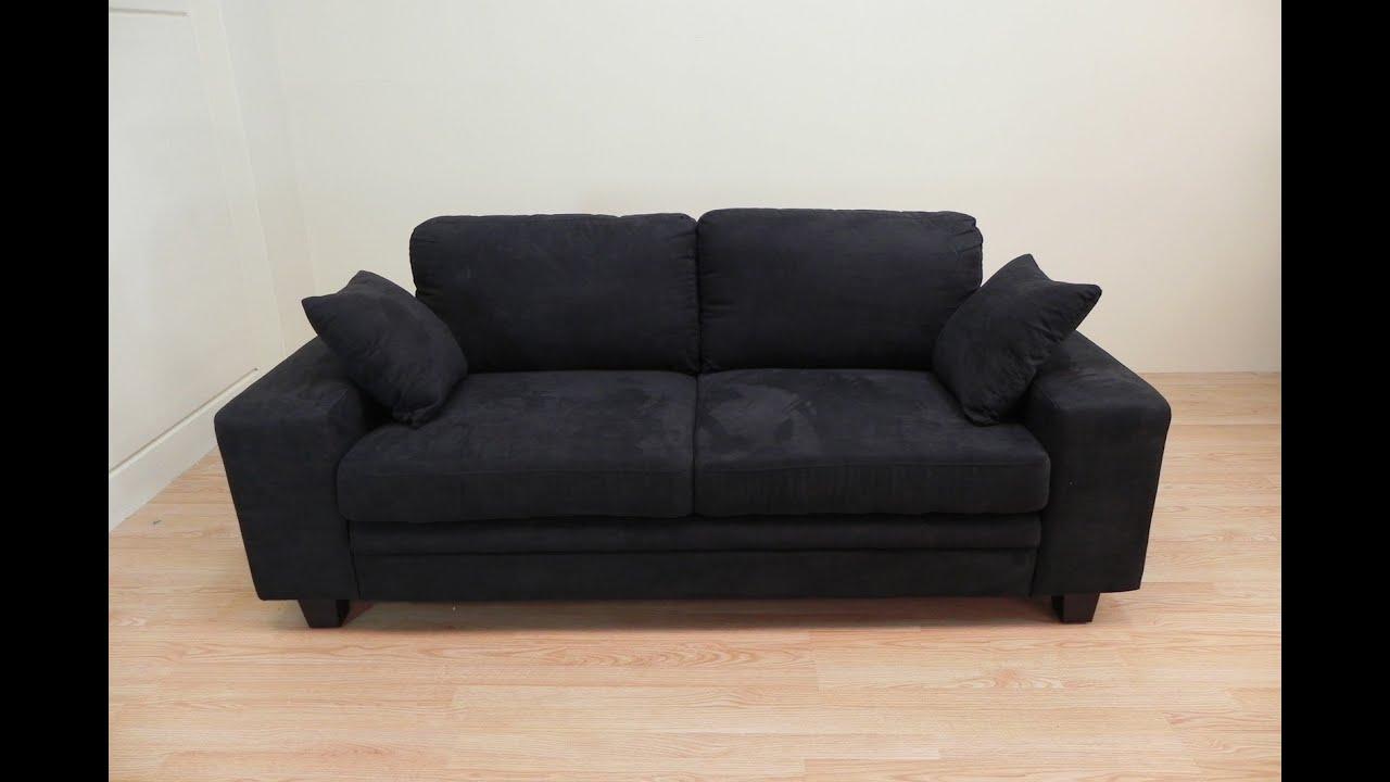 Sof de dos plazas nuevo de tela en color negro sencillo for Sofas de 3 plazas