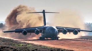 C 17 Dirt Airstrip Landing Takeoff Unloads Ah 64