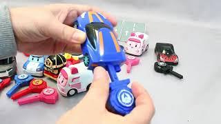 Toy mini car launcher jump robocar poli tobot turning mesard toys!