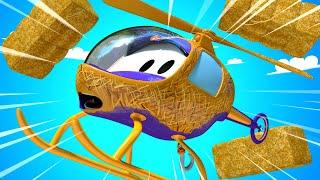 El lavado de Autos de Tom -  Hela el Helicoptero Queda Cubierta en Paja - Dibujos animados de carros