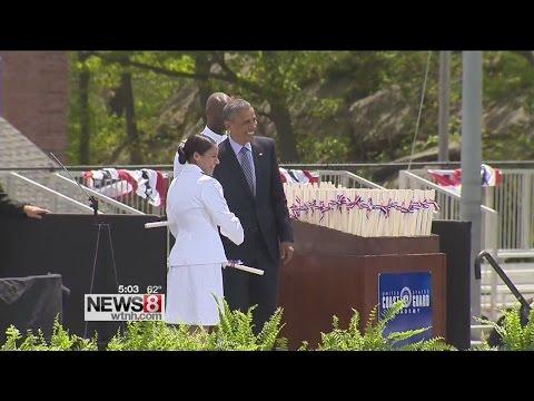 Obama highlights climate change at Coast Guard Academy graduation