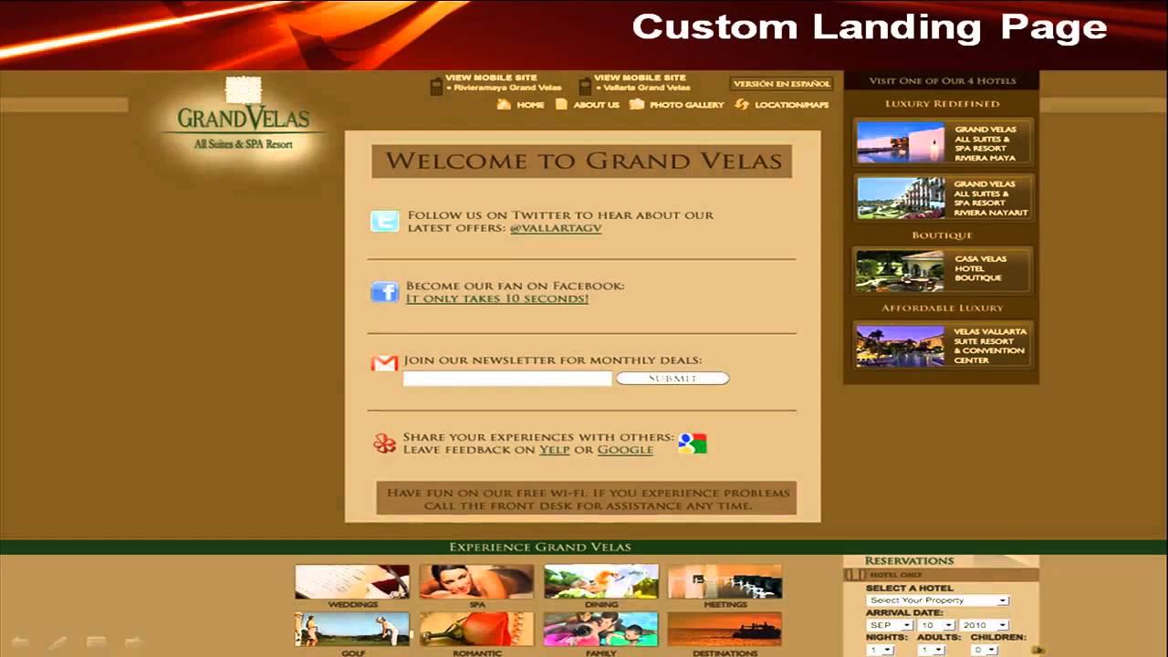 Hotel internet landing page template