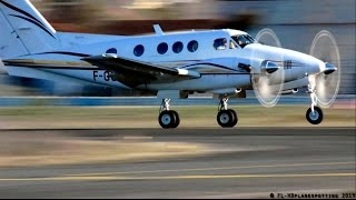 Beechcraft F90 F-GCTR landing, close startup and departure at Albi-Le Séquestre [LBI/LFCI]