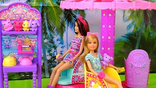 Barbie - Ken Pushes Barbie in the Pool - Unboxing and Review of Barbie Toys at the Fair