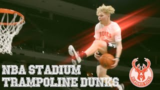 Mega Trampoline DUNKS In NBA Arena!