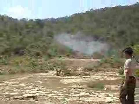 Shooting a Rocket Launcher at a cow (Cambodia)