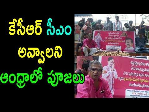 కేసీఆర్ సీఎం అవ్వాలని పూజలు Andhra People Supports TRS Party CM KCR Telangana 2018 | Cinema Politics
