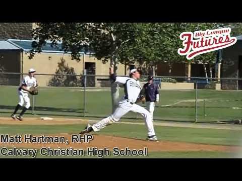 Matt Hartman, RHP, Calvary Christian High School, Pitching Mechanics at 200 fps side and front