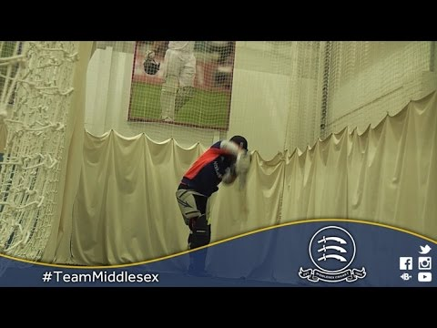 Eoin Morgan netting & Middlesex CCC squad pre-tour training (02Mar2016)