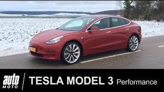 Tesla MODEL 3 Performance 1er ESSAI en France POV Auto-Moto.com