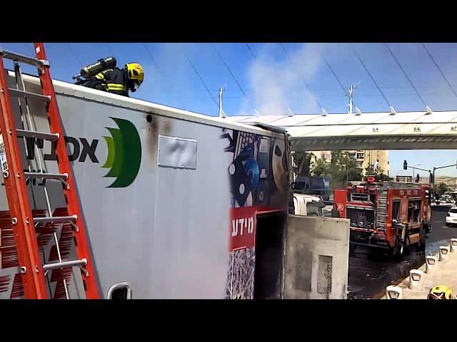 כיבוי והצלה פעלו בשריפה במשאית בסמוך לגשר המיתרים בירושלים