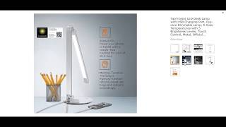 TaoTronics LED Desk Lamp with USB Charging Port, Eye- care Dimmable Lamp