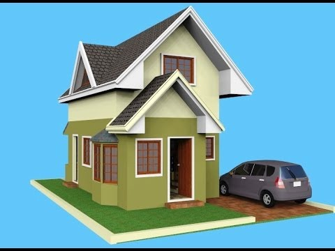 Small house design attic 3d rendered youtube for Small house plan design 3d