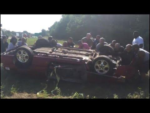 15 Heroic Men Flip Overturned Convertible Saving Trapped Man After Crash