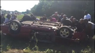 15 Heroic Men Flip Overturned Convertible Saving Trapped Man After Crash