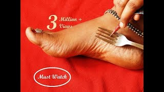 Easy Latest Feet Mehndi Design With The Help Of Kitchen Utensile Fork simple Shades Using Buds