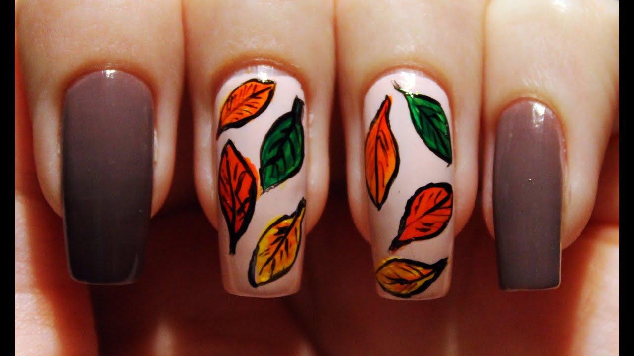Фото маникюр с листьями