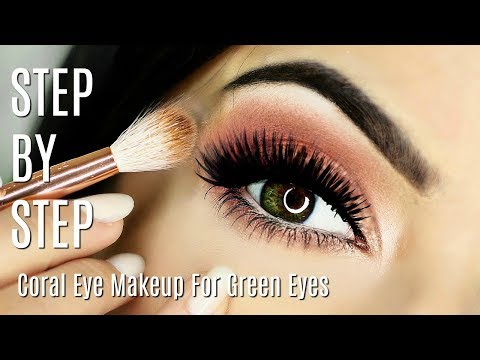 Beginner Eye Makeup Tips & Tricks   Coral Peach Eye Makeup   HOW TO MAKE GREEN EYES POP