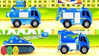 Xe Cứu Hỏa - Fire Truck: 7 Loại Xe Màu Xanh Khác Nhau | TopKidsGames (TKG) 273